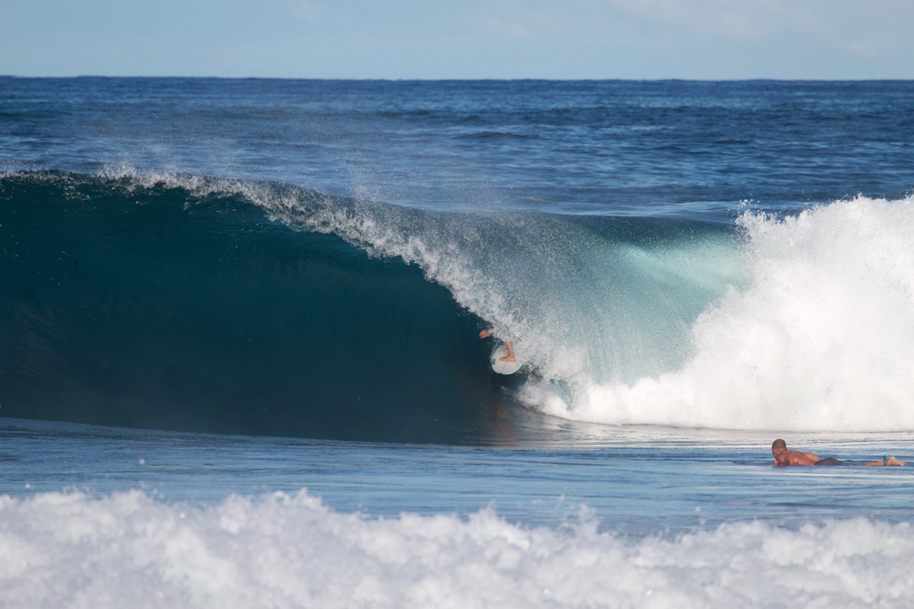 Jordan Heaselgrave, barrel, Soup Bowl, Barbados, Caribbean. Photo: Alan Burke