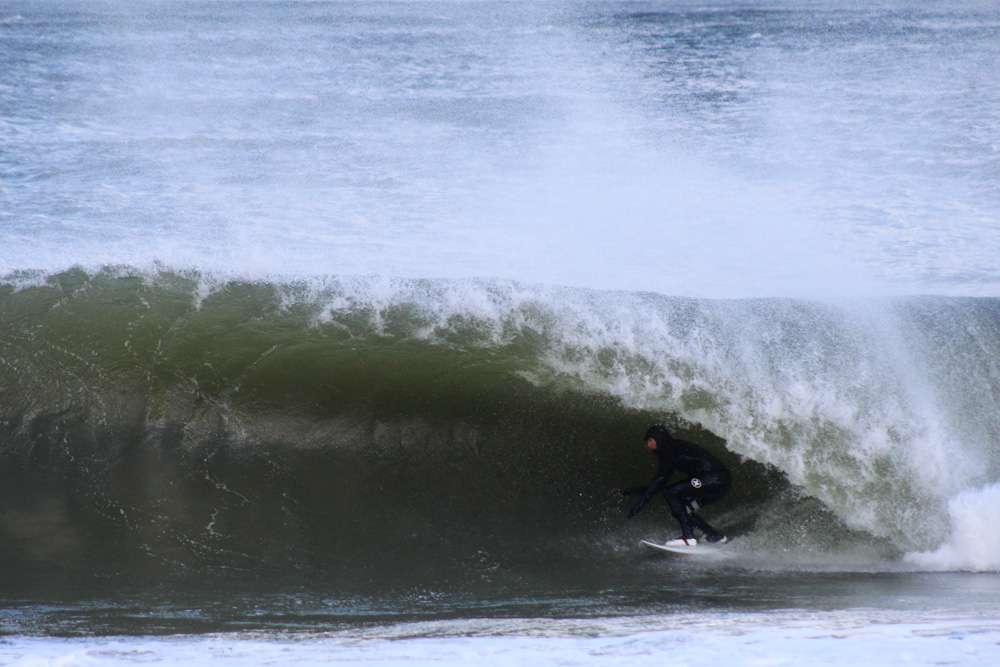 We're gonna go ahead and claim that those new Hurley white wall bootie prototypes helped Colin Herlihy get so deep on this backbreaker of a wave on the Delmarva Peninsula on Monday. Photo: Ethan Kleinstuber