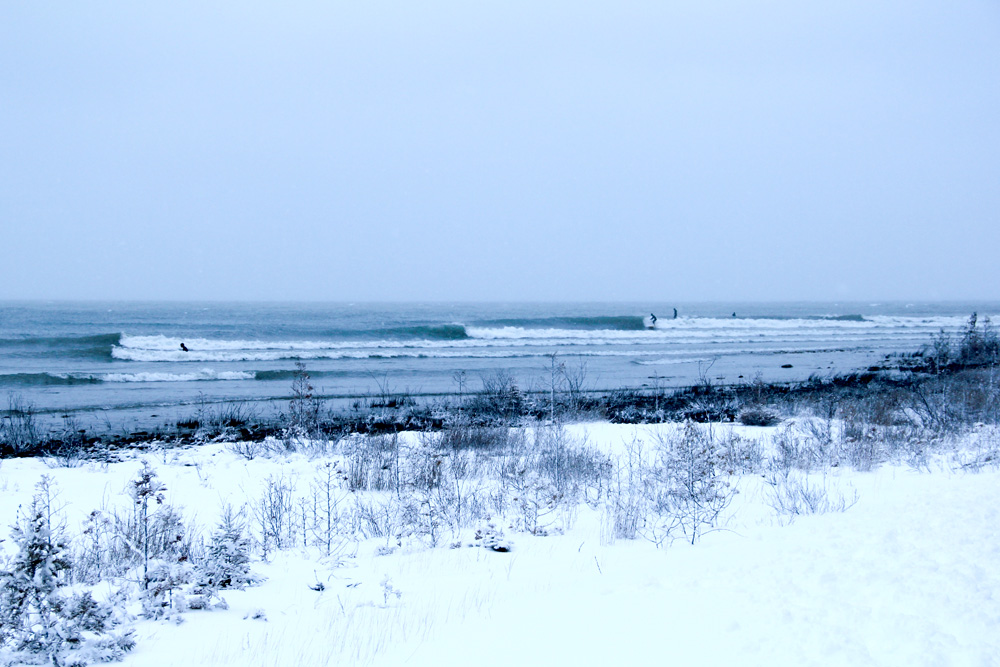 Rhode Island? Maine? Nova Scotia? Try the Great Lakes, where pointbreaks abound and snow is a way of life after November. Photo: Brian Tanis