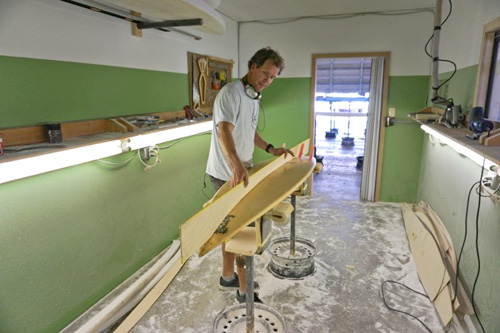 Wrightsville Beach standout John Stevens ordered a hand-crafted replica from Maurice Cole, and when John passed away in 2011, he left the board to his son Ross Stevens, whose friend Ben Bourgeois saw Ross surfing it one hurricane swell and was impressed enough to bring it in to shaper Ian Balding to try and replicate its magic. Photo: Meyer