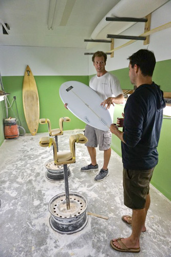 """Already having surfed a variety of Ian's designs with confidence, Ben wanted Ian to replicate the board and keep the overall """"magic,"""" with just a few tweaks here and there that catered to Ben's personal style. Ian narrowed some lines, thinned the rails a hair, and successfully blended the iconic board's shape into a custom replica. Photo: Meyer"""