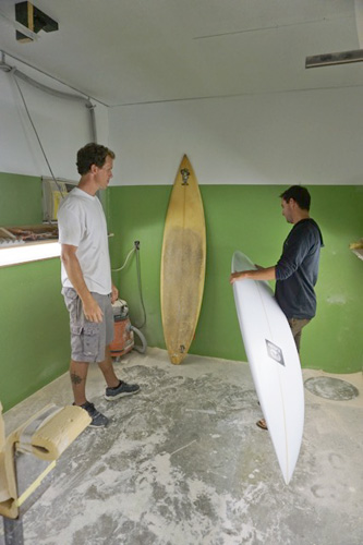 "Both Ian and Ben are outspoken proponents of the mindset that understands the importance of the intimate surfer/shaper relationship. Ian said, ""I'm a firm believer that there are no 'perfect' objects in this world, and that's the beauty of it. That's why there are 'magic' boards out there. Shaping machines have their legitimate place as a tool in production, but they will never replace the human connection in custom board building."" Photo: Meyer"