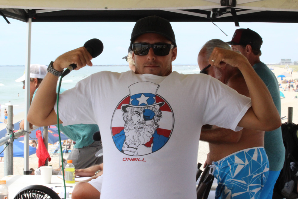 Outer Banks pro and O'Neill teamrider Brett Barley didn't just surf the Sweetwater this year — he also lent his muscular commentary skills to the MC booth. Photo: Beaufort