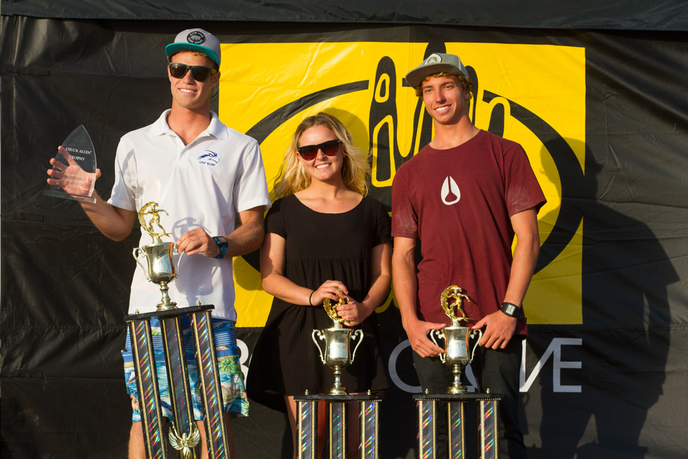 In the College division, the East Coast swept all three top spots, with UNF's Corey Howell winning College Men's, North Carolina native Darsha Pigford winning College Women's for Point Loma Nazarene University, and Steven McLean winning College Longboard for Daytona State College. UNF finished 2nd to to PLNU while DSC finished 8th. Photo: Ian Bunch