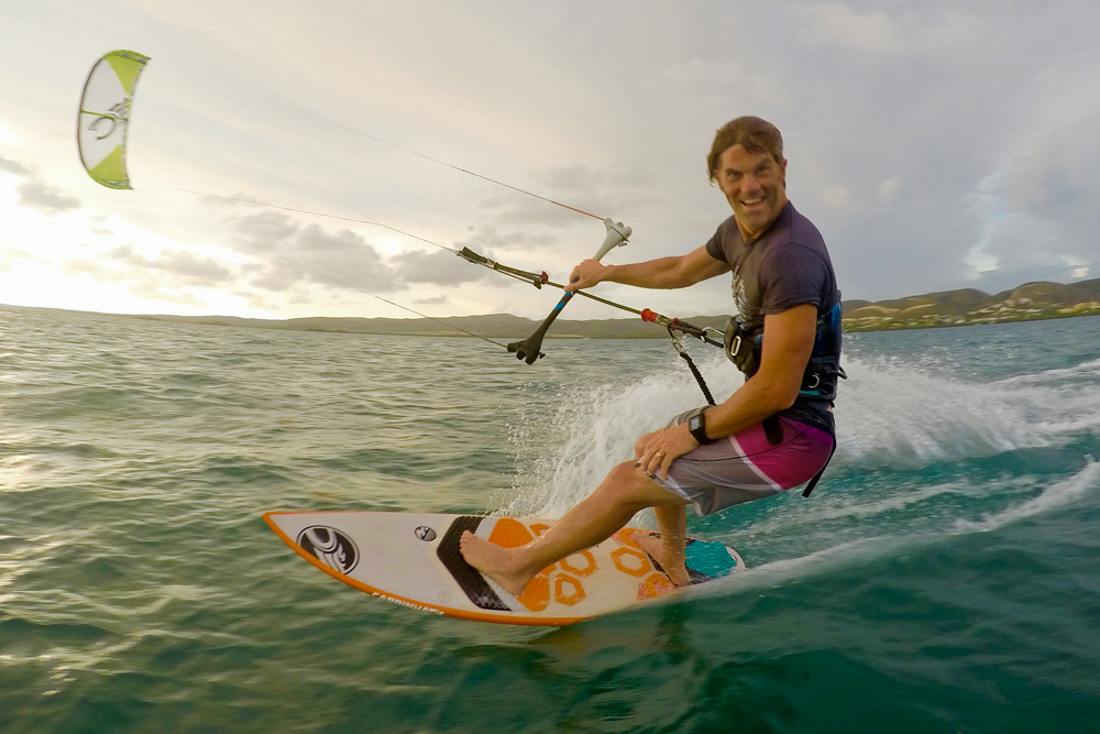 """""""Every day that I'm out on the water with friends is the best,"""" Russ says, """"no matter if it's two feet or 20."""" Photo: Amy Rodriguez"""