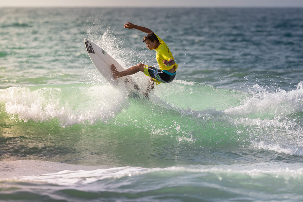 This year, the contest attracted a couple new faces and a few standout returners back to the field to go head to head for the $4,000 prize purse. The #1 Ranked WSL Pro Junior in North America, Kei Kobayashi, showed up alongside fellow Californian and O'Neill teammate Sebastian (Bash) Mendes, with Kei finishing equal-5th. Photo: Ficklin