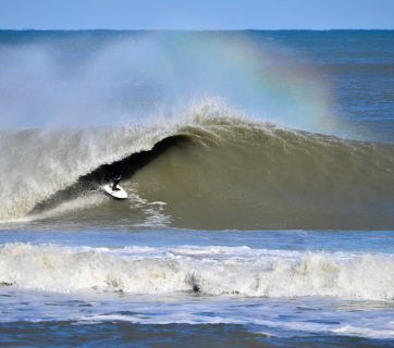 Jesse Hines went downright HAM in the Outer Banks this week, braving insane conditions on Monday and Tuesday with a select group of other chargers before earning this picture-perfect payoff on Wednesday. Photo: Colin Breland