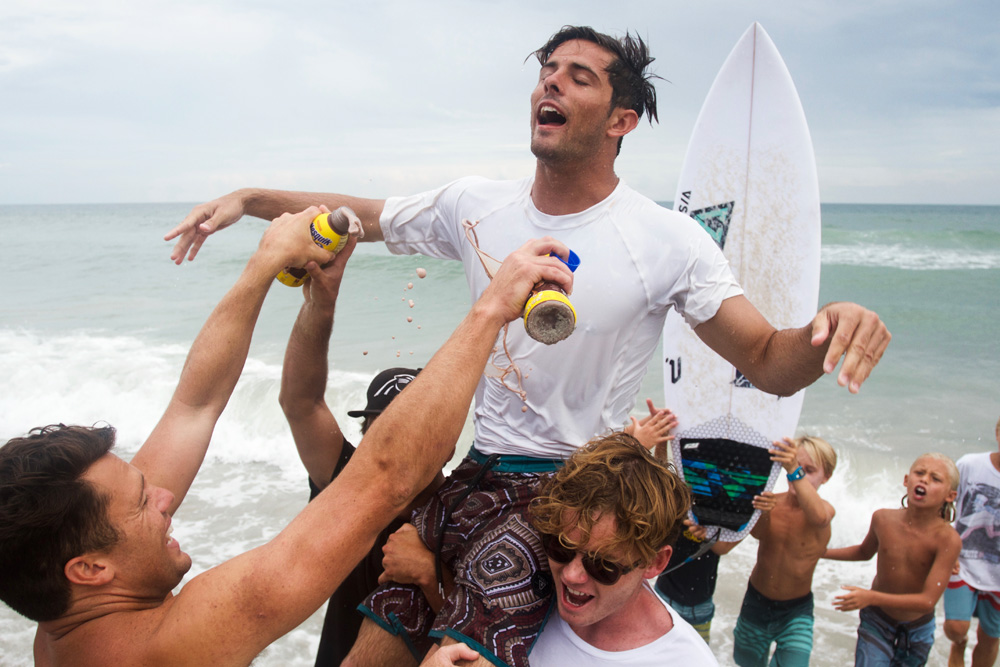 """Quarterfinalist Phillip Goold said, """"Cam was ripping the whole event but seemed to peak at the right time in his semi... and then did that crazy whip in the final,"""" which earned him Nixon's Most Radical Maneuver award. Cam had the largest presence of family and friends on the beach and father Kelly Richards (owner of Village Surf Shoppe in Garden City, SC) had his eyes glued to the action every heat. Word on the street is part of Cam's motivation to win was to take care of a heavy root canal bill, which he's stoked to do now that he's $4,000 richer! Photo: Hatch"""