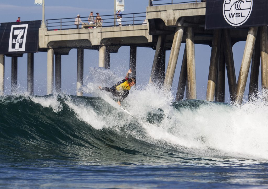 Courtney Conlogue surfing during Heat Three of Round 2 at The Vans US Open of Surfing