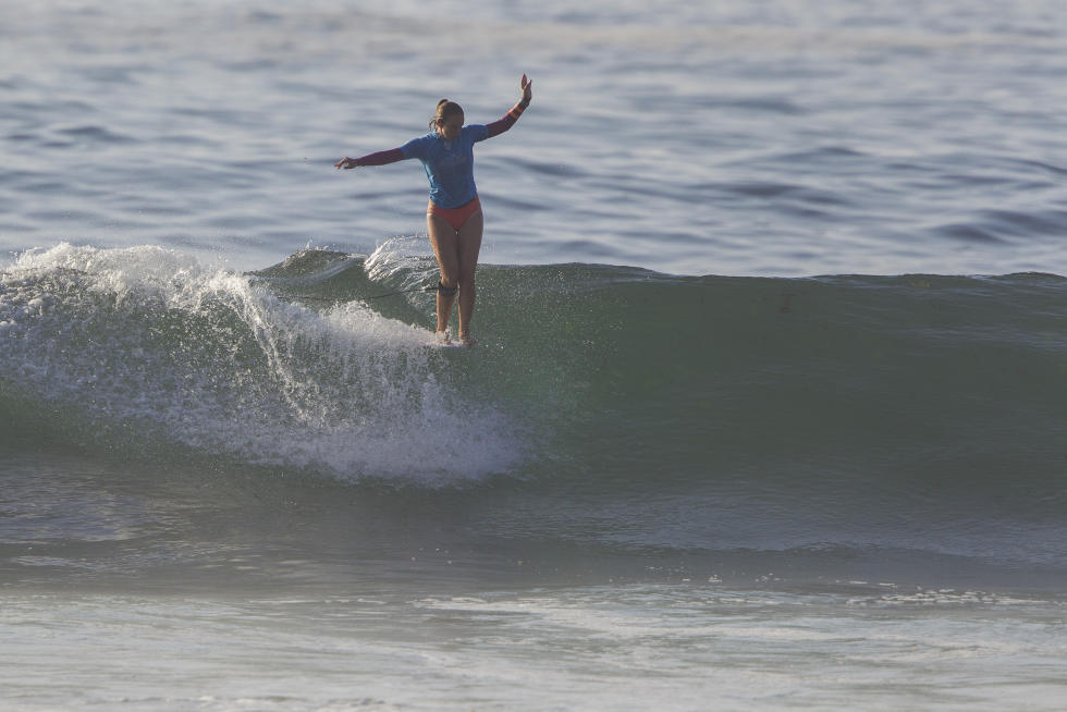 Caption: 2015 WSL Women's Longboard Champion Rachael Tilly (USA) earned a big victory over the in-form Brazilian Chloe Calmon (BRA) at the Pro A Coruna earlier this month.  Image: WSL/  Damien Poullenot