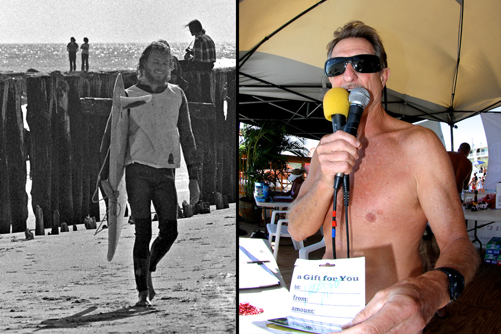 "40-year-plus ripper, retailer, and New Jersey repping force Vince ""Peanuts"" Troniec (left) is nominated in the Pioneers category with Hunter ""The Mouth From The South"" Joslin (right) also on the ballot for his notorious contest MC skills, full tilt goofyfooted prowess (he proclaims ""he who gets the most waves is having the most fun""), and for his Indo Board Balance Trainer juggernaut. Left photo: Courtesy Troniec; Right photo: Dugan"