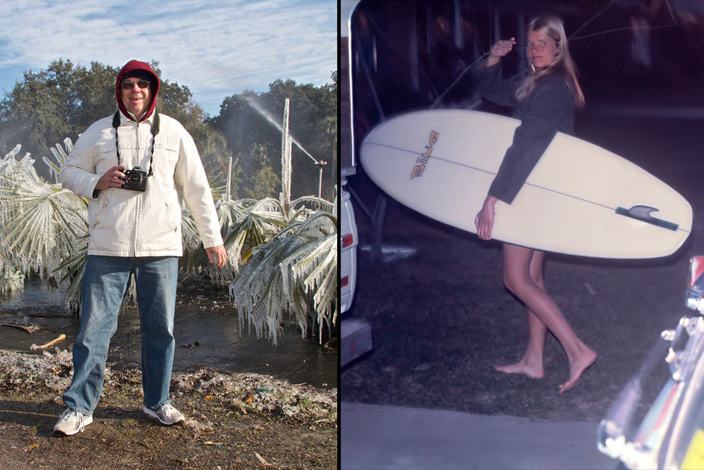 (Left) Nominated posthumously in the Media category, Rhode Island's Joe McGovern, who passed away last January while surfing, was New England's most valuable photographer, writer, and surf historian, as well as one of the finest shooters to call the East Coast home. (Right) A Gulf Coast trailblazer from the mid '60s who is still very active as a surfer and local leader in beach access rights today, Brenda Stokes is nominated in the Women's surfing category. Left photo: Mez; Right photo: Courtesy Stokes