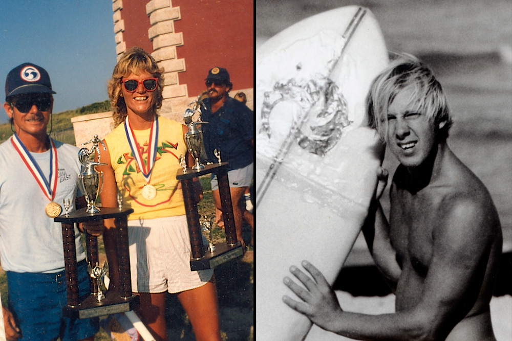 (Left) Debra Swaney, nominated in the Women's surfing category, is another in a long line from the powerhouse known as Jax Beach. A founding member of Sisters of the Sea, she is also a four-time East Coast Women's champion and a two-time U.S. champion, just a few of her bona fides that are too numerous to list here. (Right) Men's surfing nominee Skill Johnson of Maryland was a standout in the '60s and '70s comp scene and is still surfing today. He is well remembered for helping kickstart and deeply influence surfers up and down the Delmarva Peninsula. Left photo: Courtesy Kaufman; Right photo: Courtesy Bill Wise