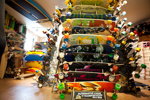 They also have a large selection of skate products to fill your time spent out of the water. Photo: Courtesy Flying Point
