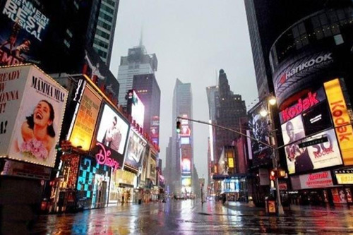 Even Times Square, more than 42 blocks north of the tip of Manhattan, saw several inches of standing water. But the lights were still on. Photo: Marc McCuen