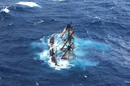Sadly, the HMS Bounty, a 180-foot replica of the famous ship, sunk of the coast of Cape Hatteras on Monday. Coast Guard members were able to save 14 of the boat's 16-man crew. Photo: Petty Officer 2nd Class Tim Kuklewski/U.S. Coast Guard/Getty Images