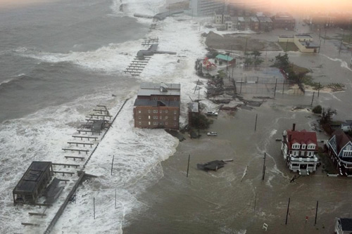 The Atlantic City waterfront was left in ruins on Monday after Sandy's storm surge arrived at high tide, coinciding with a full moon and leaving several blocks underwater. Photo: Associated Press