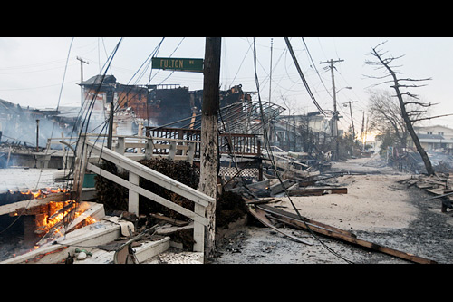 But by far the saddest scenes from Hurricane Sandy came in Breezy Point on the Rockaway Peninsula, where a massive fire that swept through the neighborhood Monday night devastated over 110 homes. Photo: Frank Franklin/li/Associated Press