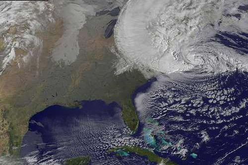 A satellite view of Sandy, which was downgraded to a Post-Tropical Cyclone that affected a large swath of the United States. That includes blizzard-like conditions in mountainous areas, hurricane-force winds all the way to the Great Lakes, heavy rainfall in New England and Canada, and more nasty weather still to come for areas already under the gun from Sandy's landfall yesterday. Photo: National Weather Service