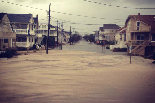 Initial reports indicate that Ocean City, NJ, escaped severe damage, although the beach at 1st Street had moved inland a bit. But the devastation in areas just to the north, including Atlantic City and Long Beach Island, looks to be severe and long-lasting — a recent news report said that LBI residents might not be able to return for at least a week. Photo: Rob Kelly