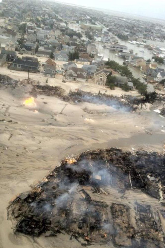 A reconnaissance mission by the National Guard Tuesday morning revealed this mind-boggling image of Seaside, NJ. Words can't even describe the level of damage inflicted on the heart of the Jersey Shore. Photo: Bryan Joseph/National Guard 1-150th Assault Helicopter Battalion