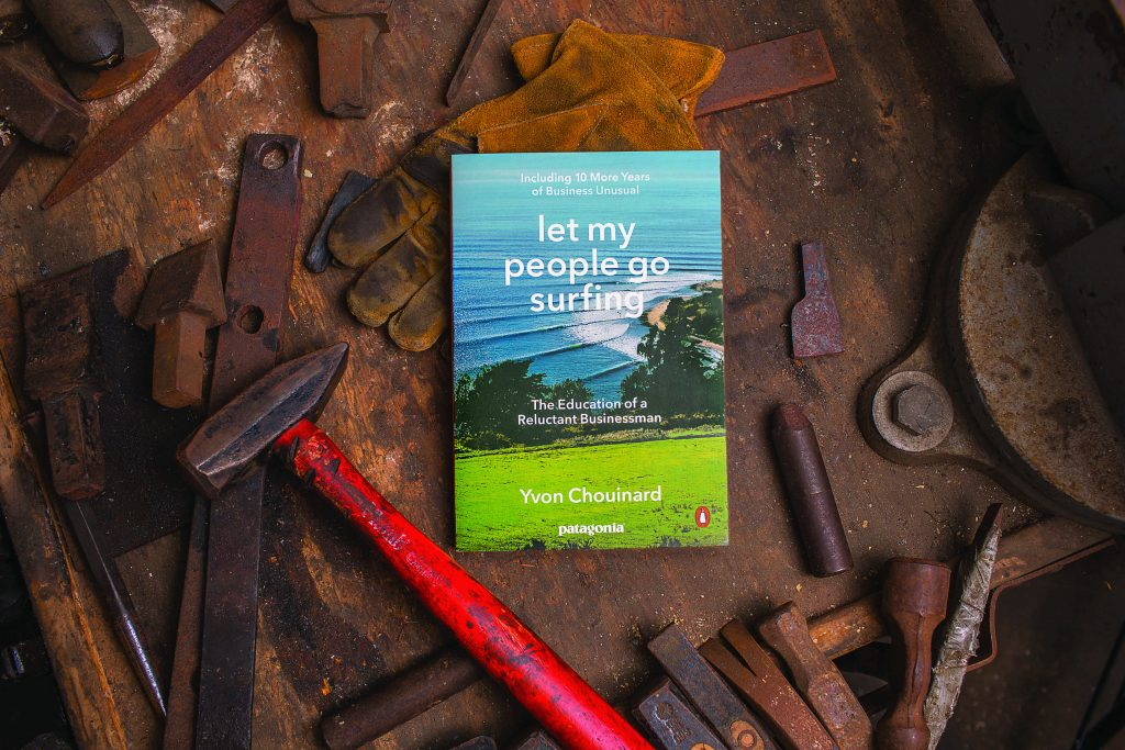 Patagonia book cover: Let My People Go Surfing, 2nd edition, 2016. Cover photo by Steve Bissell