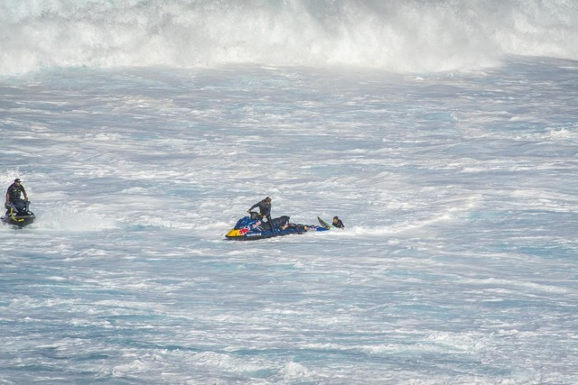 Jet ski rescue at Peahi in Maui.