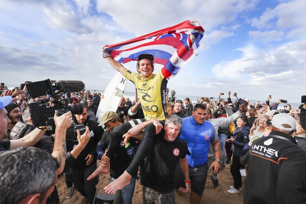 John John Florence is chaired up the beach as the World Champion and winner of the Rip Curl Pro Portugal. Photo: WSL/Cestari
