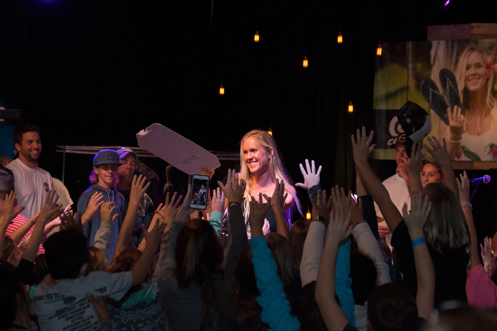Bethany Hamilton in Ocean City, NJ, on Cobian's Every Step Matters tour. Photo: Ryan Simalchik