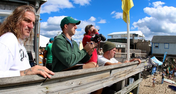 Battle of the Beach 5 judges Sid Abbruzzi, Colin Hynes, Matt Fraza, and Curt Niles. Photo: Sorlien