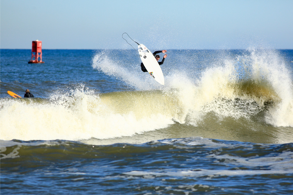 "Before Dillon Reed, Brad Beach, Ricardo Jimenez, and a crew of Virginia Beach's finest boogied south to Dare County last week, they made a quick stop at First Street Jetty and captured Jennings Sessom taking flight — ""not the only surprise on Election Day,"" according to Dillon. Photo: Ricardo Jimenez"