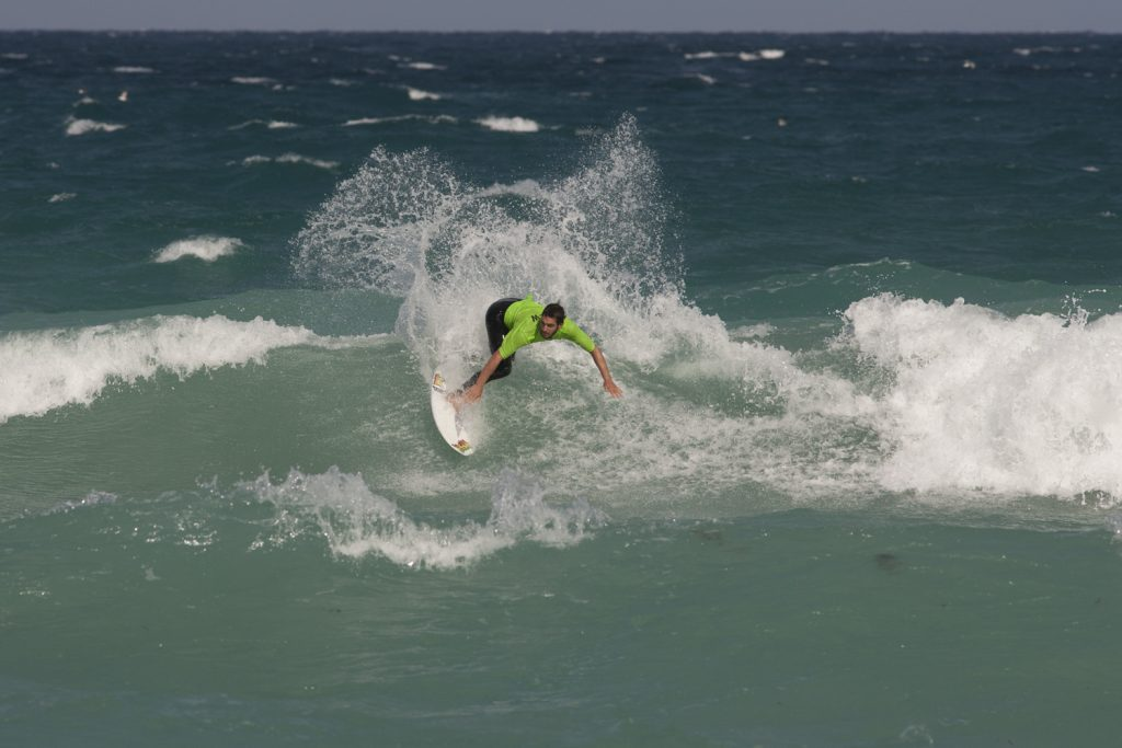 Brandon Murray with a big backside hack. Photo: Mark Hill