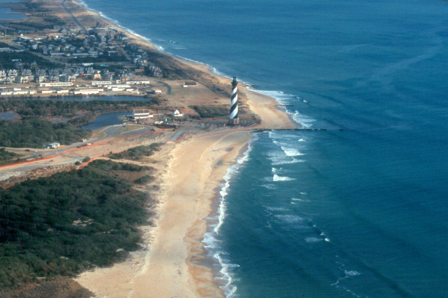 Mickey's beloved Cape Hatteras Lighthouse in its original location, photographed from above in February 1999. Photo: McCarthy