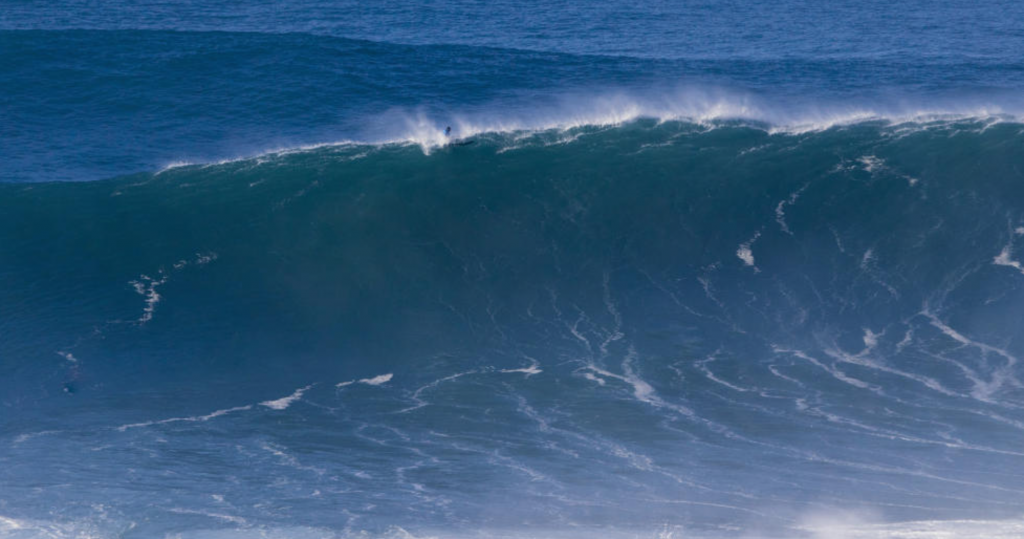 Will Skudin looks down a massive one at the first-ever WSL BWT Nazaré Challenge. Photo: WSL/Laurent Marusel