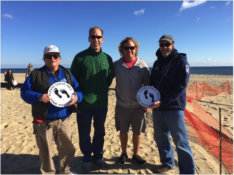 Richard Lee of Surfers Environmental Alliance, Chris Robinson, Larry Schmidt, and Bob Duerr of the Manasquan Boardriders Club. Photo: James Contreras