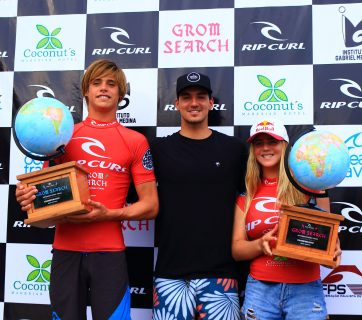 Kade Matson and Caroline Marks with Gabriel Medina. Photo: Rip Curl