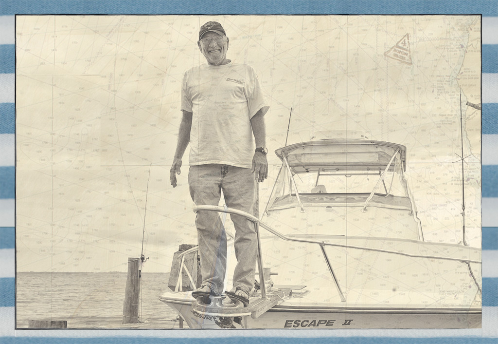 Dick Catri aboard his charter boat, Escape II, on the Indian River Lagoon, circa 2012. Photo: Mez